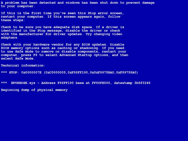 Устранение синего экрана смерти. Что делать при появлении экрана смерти?